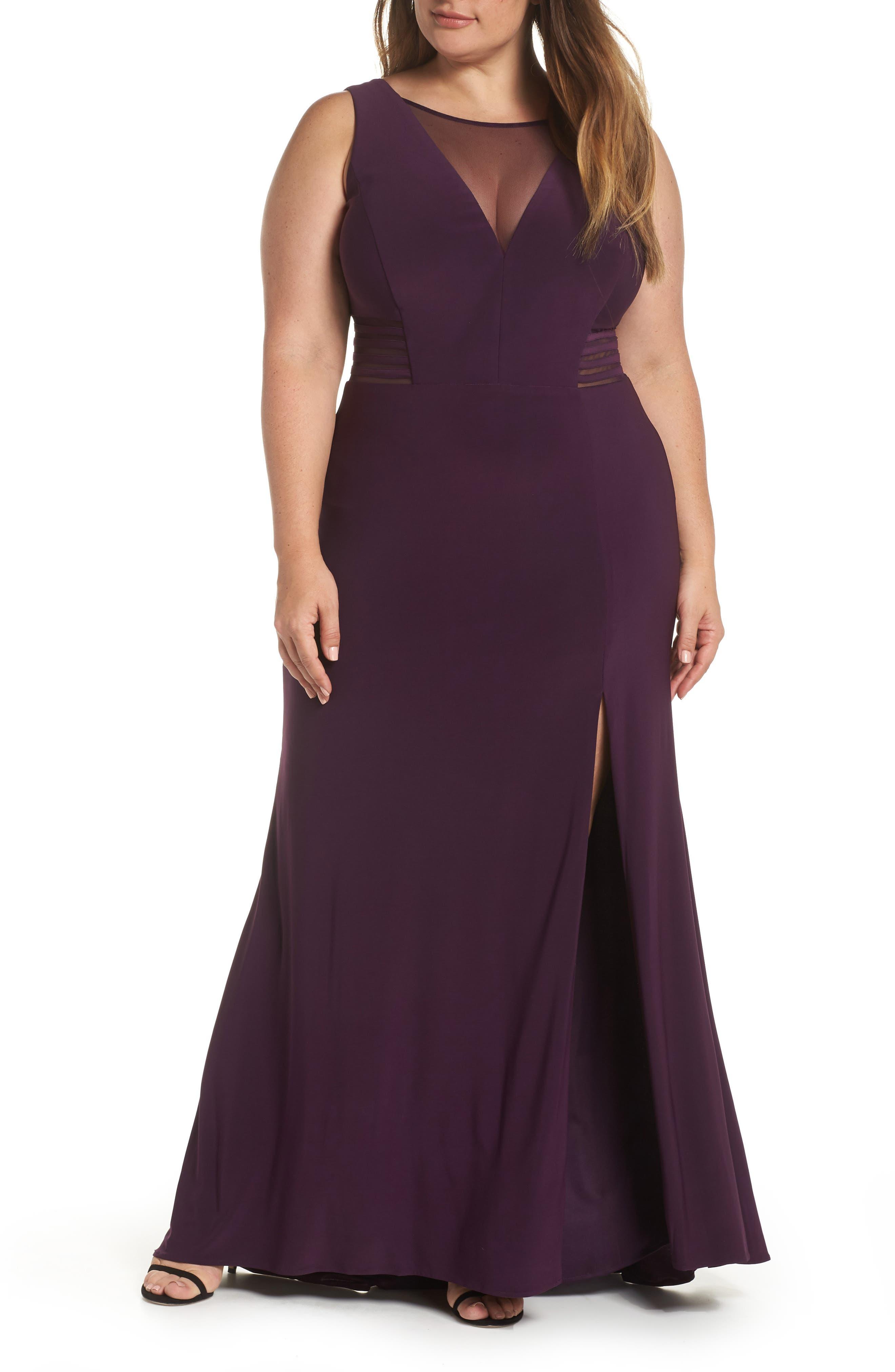 Morgan & Co. Power Mesh Illusion Knit Dress (Plus Size)