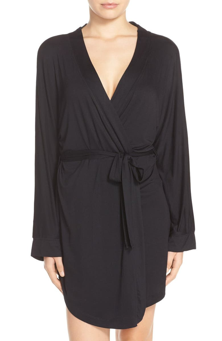 HONEYDEW INTIMATES All American Jersey Robe, Main, color, BLACK
