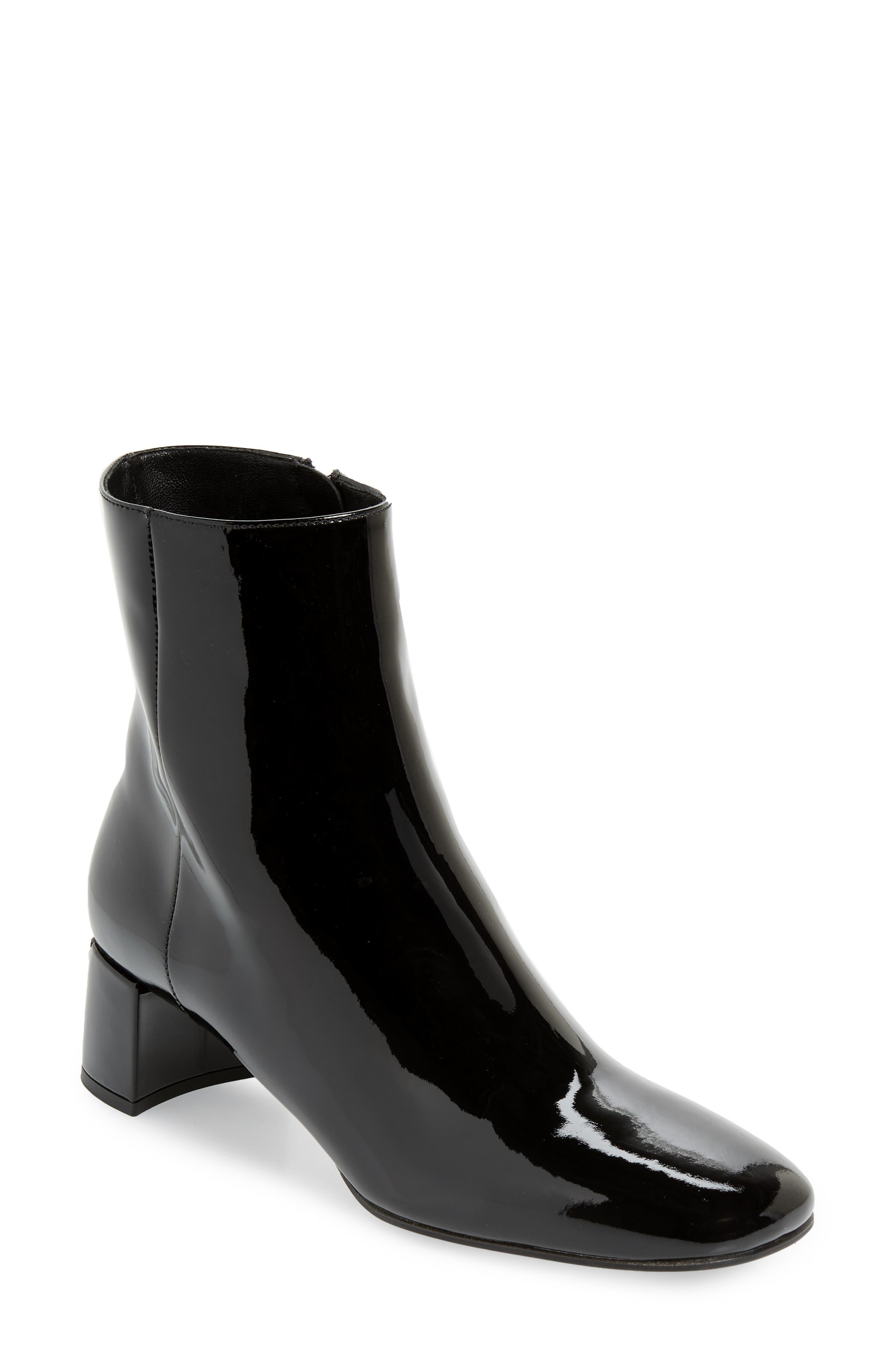 Logo Heel Bootie, Main, color, BLACK