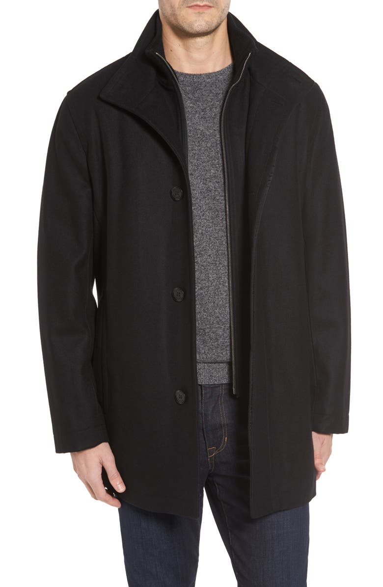 COLE HAAN Melton Wool Blend Coat, Main, color, BLACK