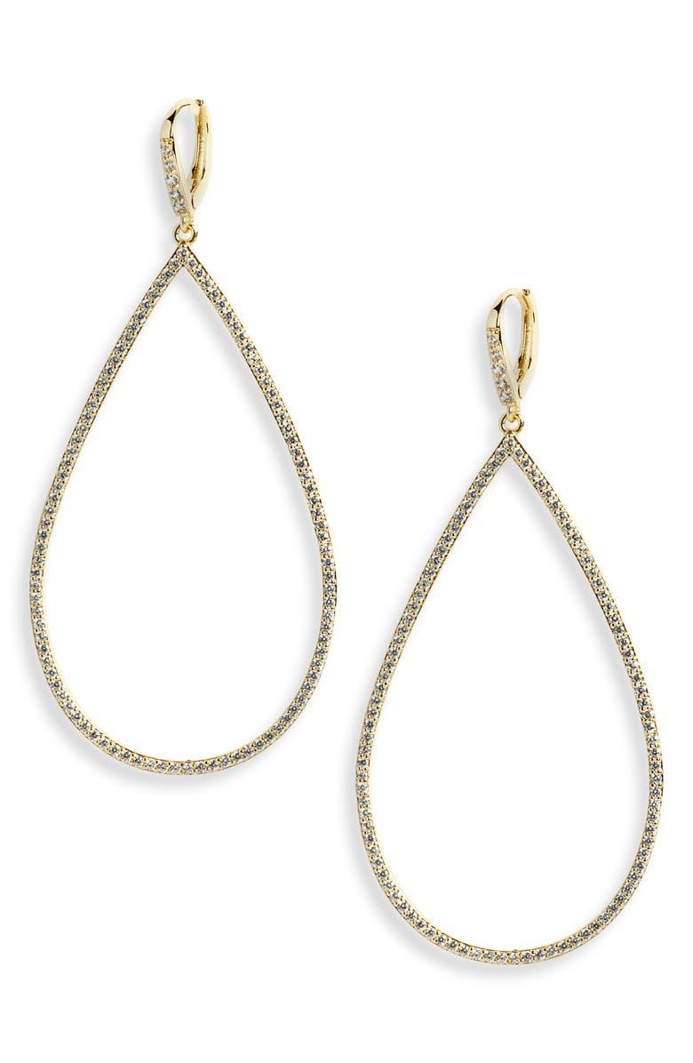 LISA FREEDE Micro Pavé Teadrop Earrings, Main, color, GOLD