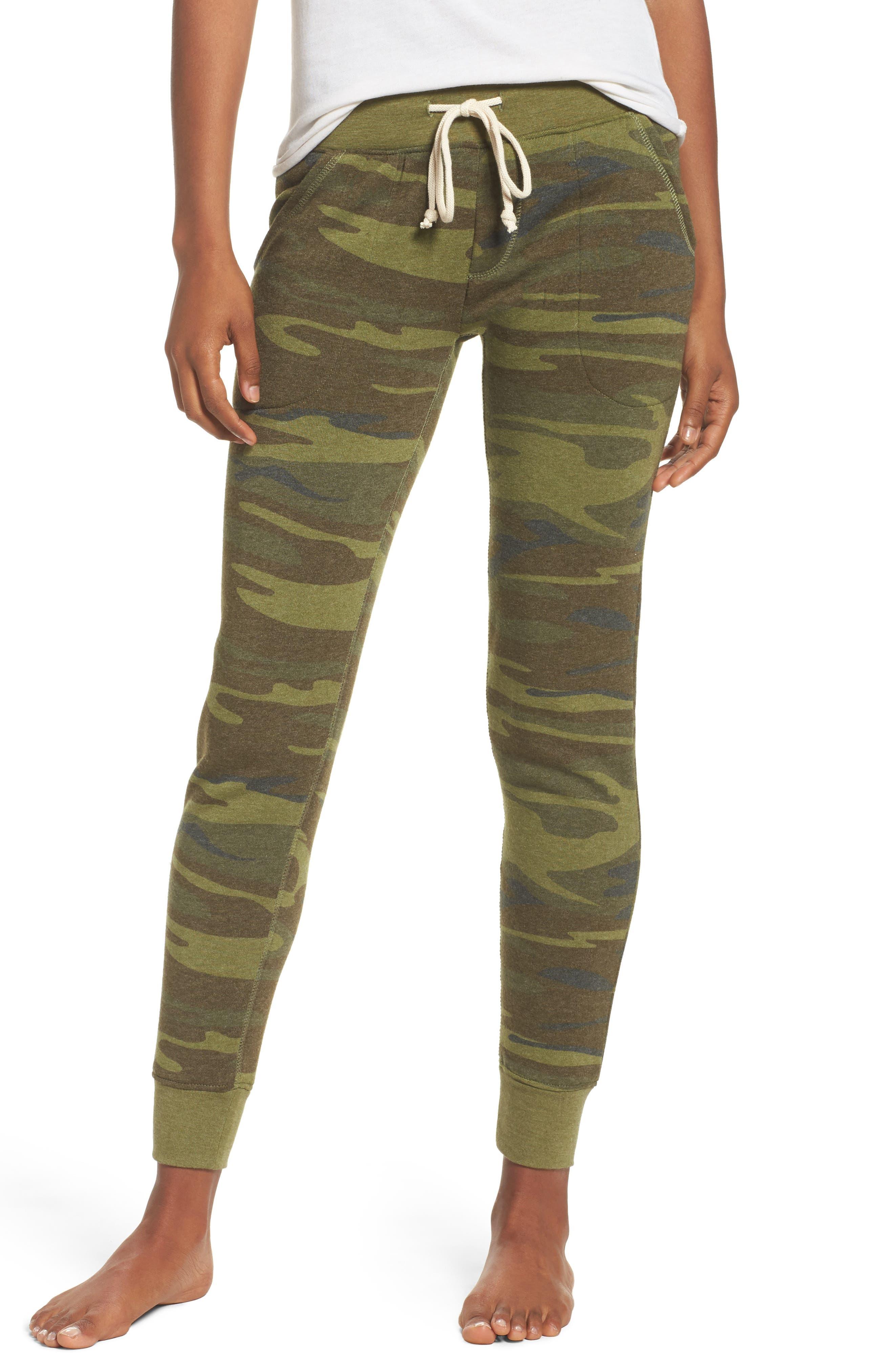 Camo Print Fleece Jogger Pants