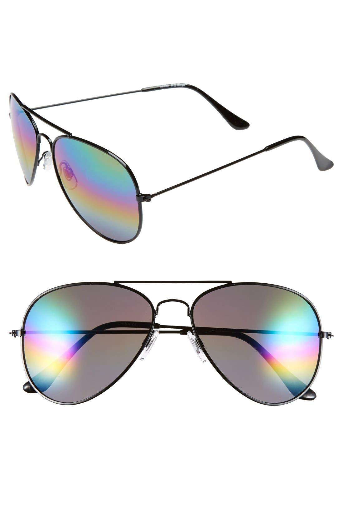 'Sunset' 57mm Aviator Sunglasses, Main, color, 001