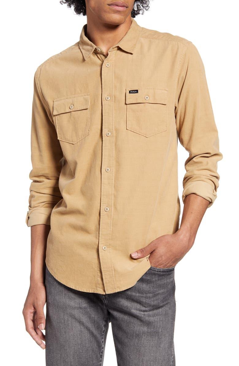 RVCA Freeman Button-Up Corduroy Shirt, Main, color, DUSTY YELLOW