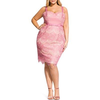 Plus Size City Chic Jolie Scallop Lace Sheath Dress, Purple