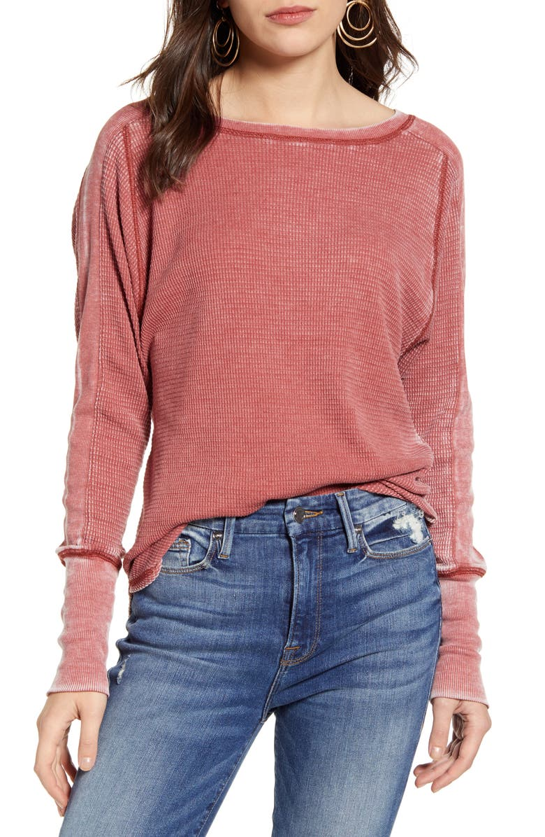 TREASURE & BOND Thermal Knit Shirttail Hem Long Sleeve Tee, Main, color, RUST MARSALA