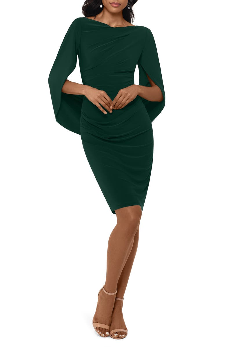 BETSY & ADAM Drape Back Cocktail Dress, Main, color, FOREST