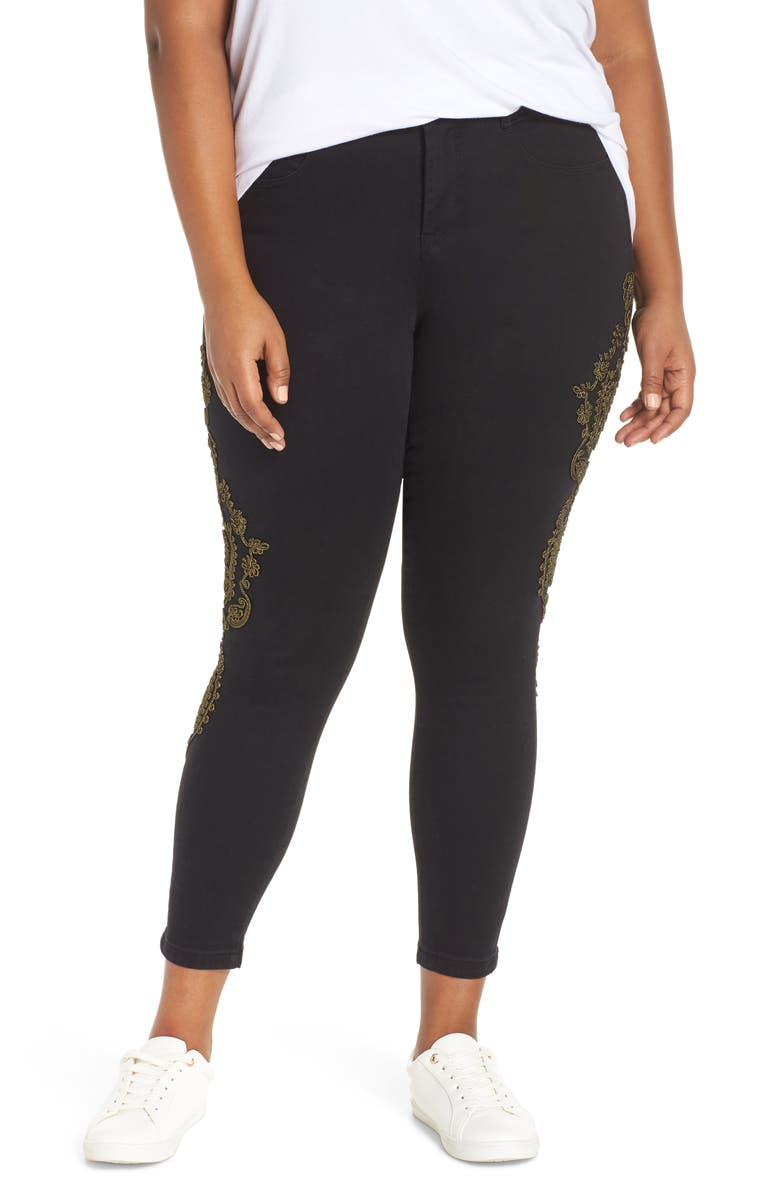 YSJ Embroidered Ankle Skinny Jeans, Main, color, BLACK RINSE WASH