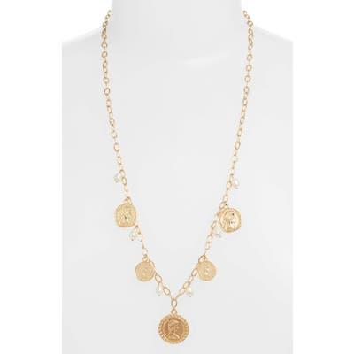 Ettika Coin & Natural Pearl Long Necklace