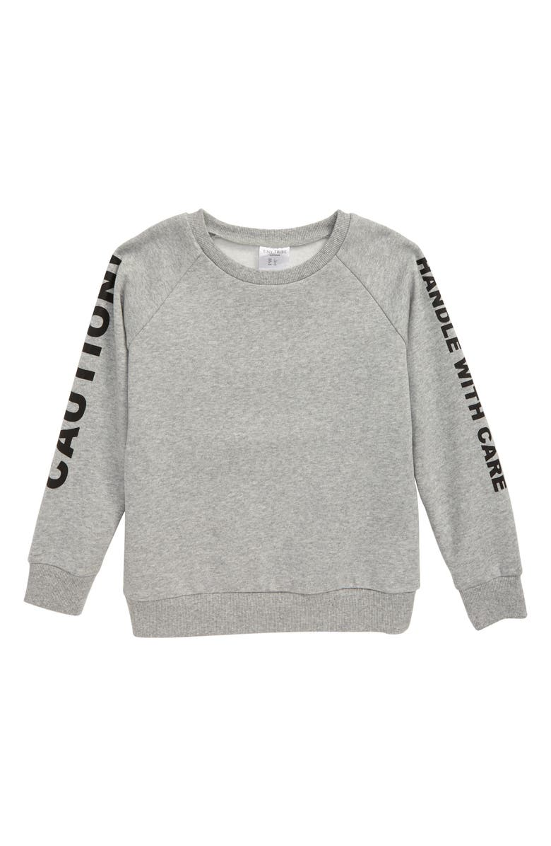 TINY TRIBE Caution Fleece Sweatshirt, Main, color, GREY MARLE