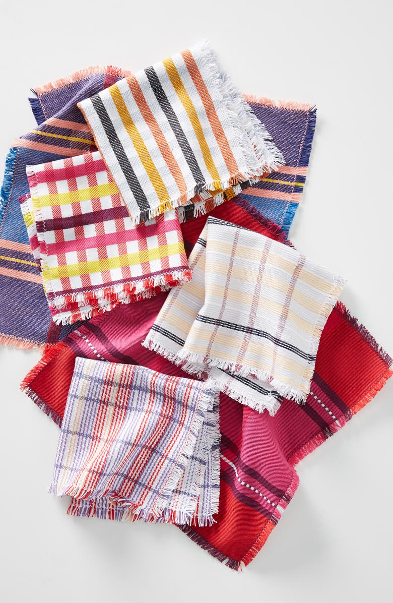 ANTHROPOLOGIE Jane Set of 6 Dishcloths, Main, color, PINK MULTI
