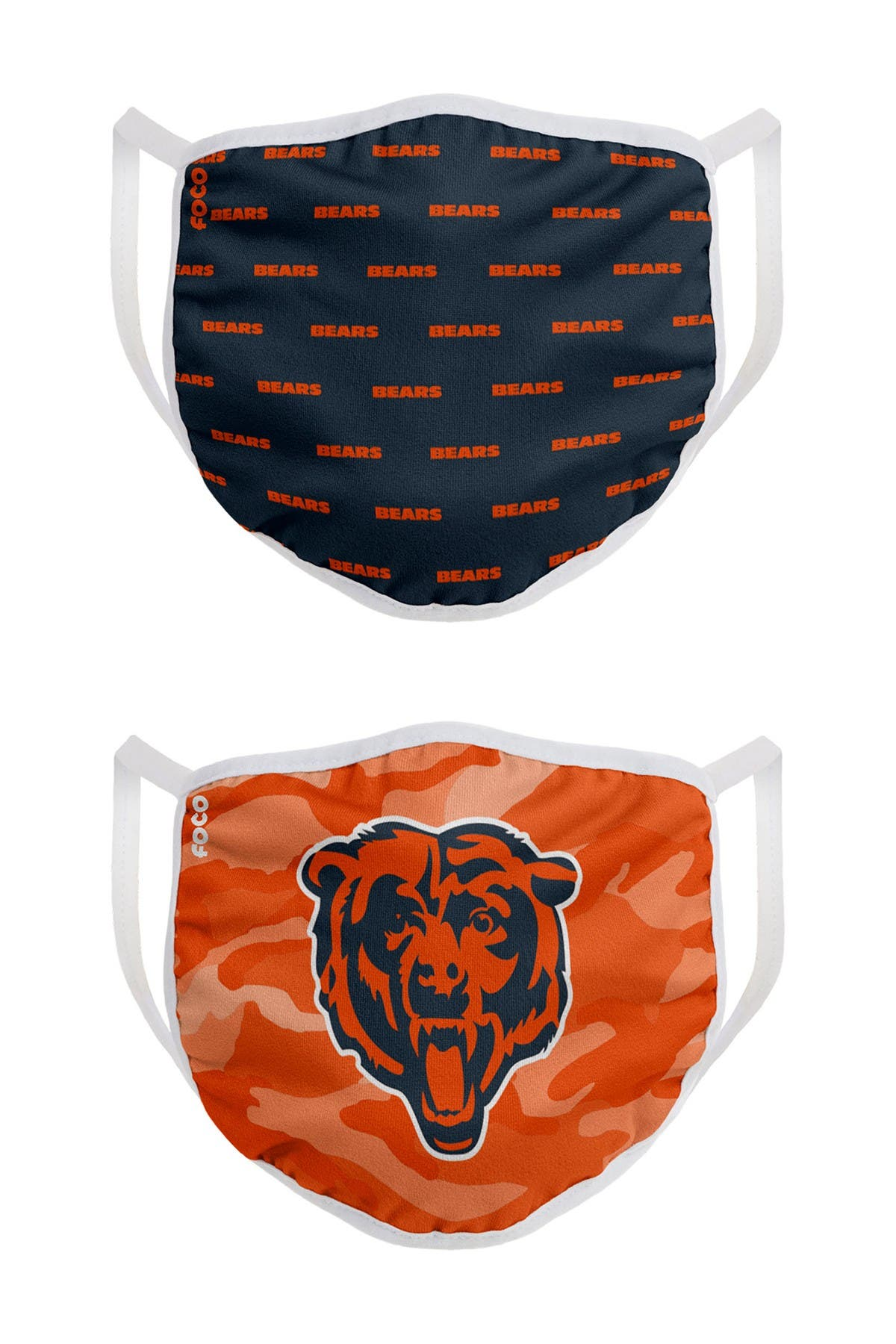Image of FOCO NFL Chicago Bears Clutch Printed Face Cover - Pack of 2