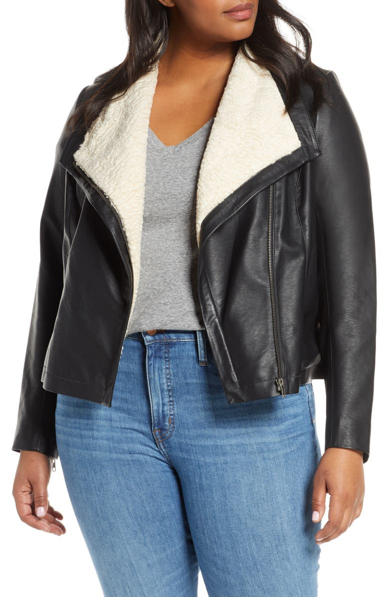 CASLON<SUP>®</SUP> Faux Leather Moto Jacket, Main, color, 001