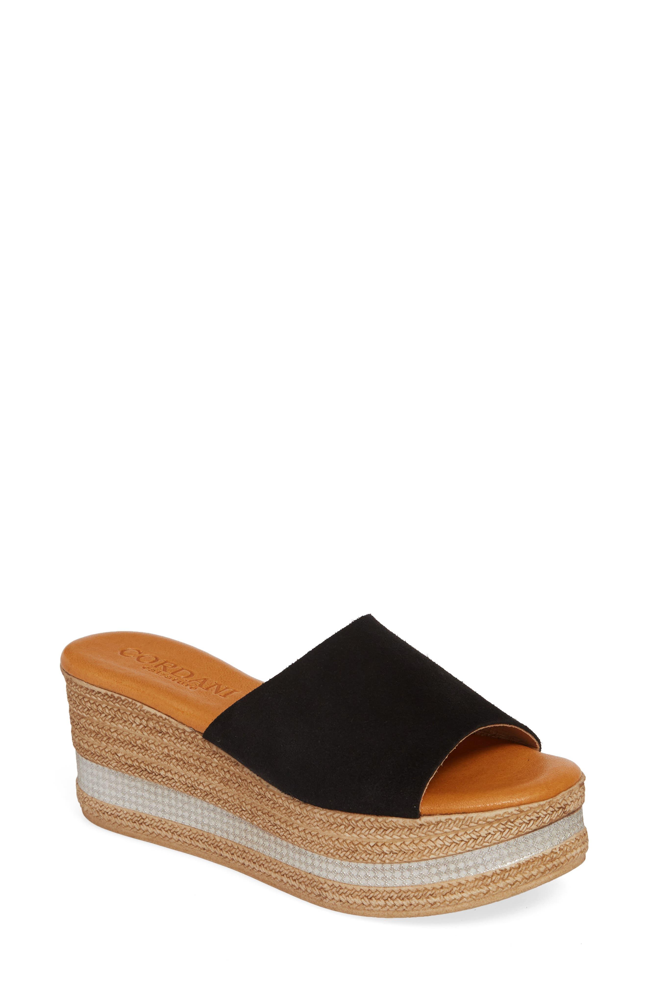 Cordani Barbara Wedge Slide Sandal, Black