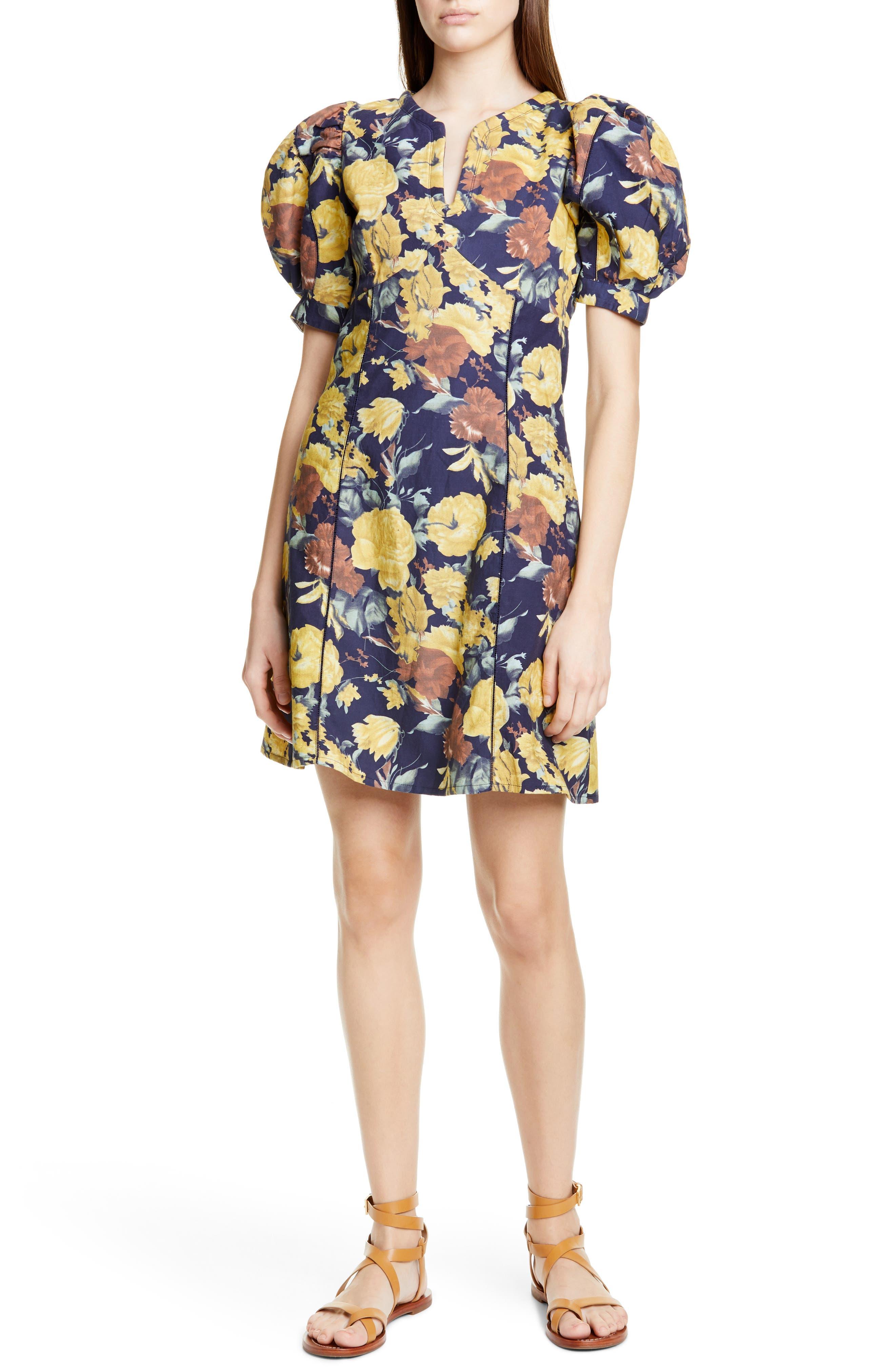 Sea Ella Floral Puff Sleeve Minidress, Yellow
