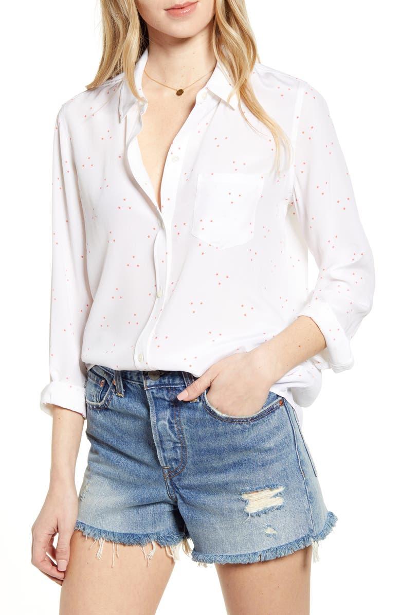 RAILS Kate Print Shirt, Main, color, CORAL MINI STARS