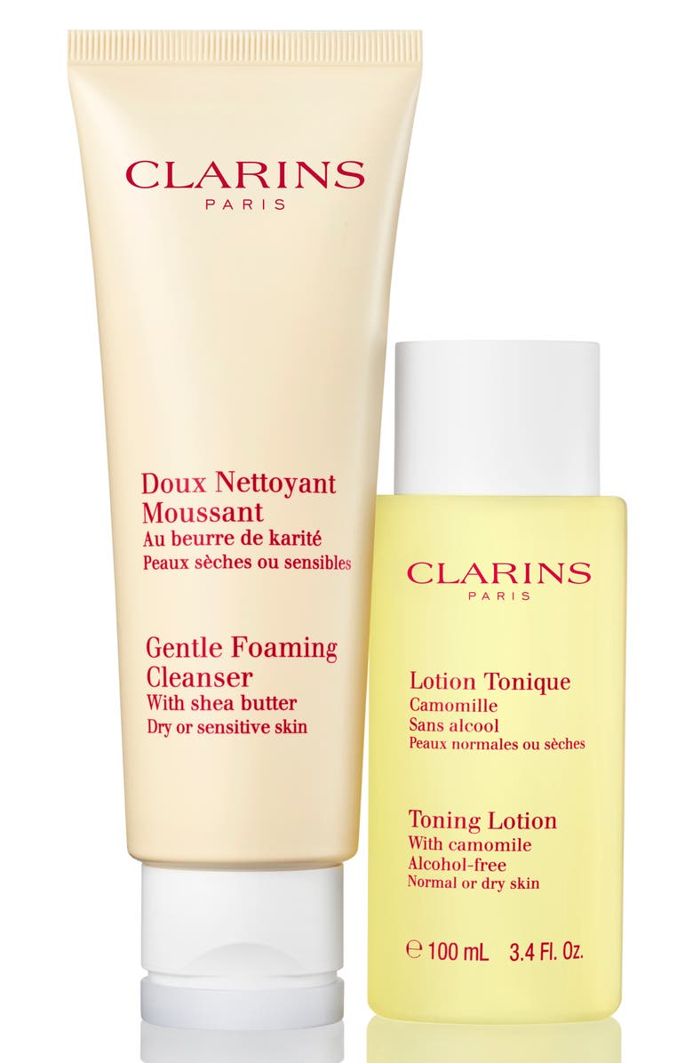 CLARINS Cleanse & Refresh for Dry or Sensitive Skin Set, Main, color, NO COLOR