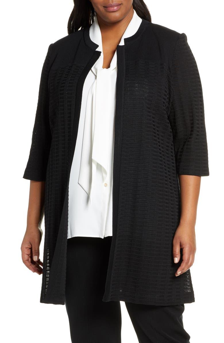 MING WANG Textured Knit Long Jacket, Main, color, BLACK