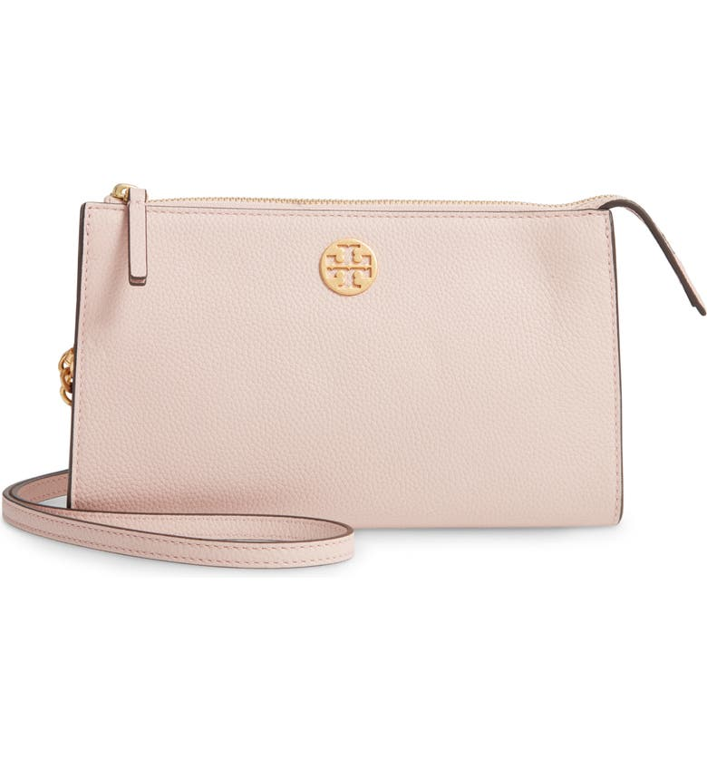TORY BURCH Mini Everly Leather Crossbody Bag, Main, color, SHELL PINK