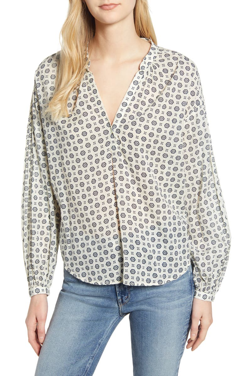 VELVET BY GRAHAM & SPENCER Geo Print Cotton Shirt, Main, color, CRESCENT