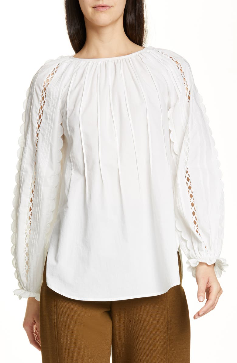 SEE BY CHLOÉ Scalloped Open Trim Top, Main, color, ICONIC MILK