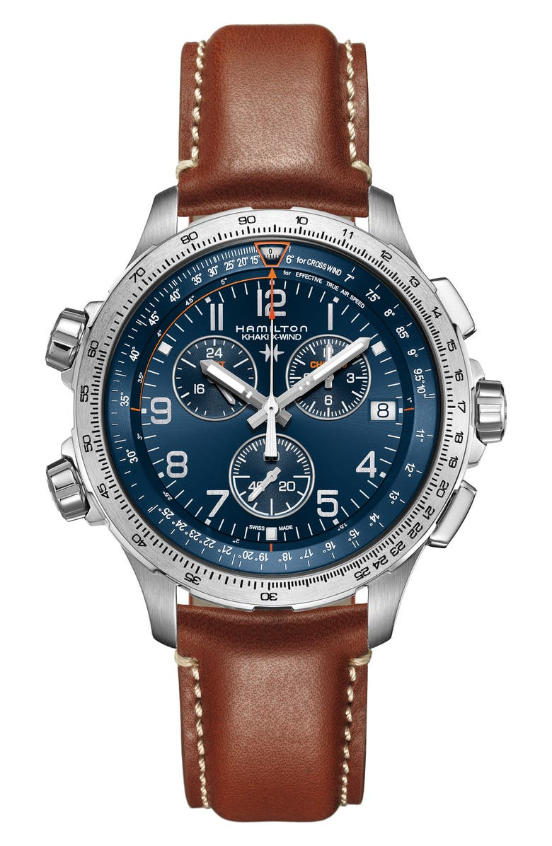 HAMILTON Khaki Aviation X-Wind Chronograph GMT Leather Strap Watch, 46mm, Main, color, BROWN/ BLUE/ SILVER