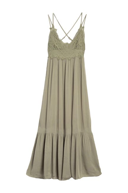 Image of Lush Lace Criss-Cross Strap Midi Dress