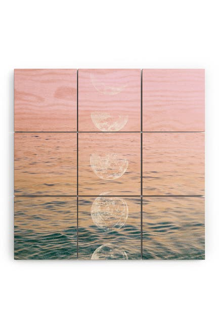 Image of Deny Designs Emanuela Carratoni Moontime on the Beach Wood Wall Mural