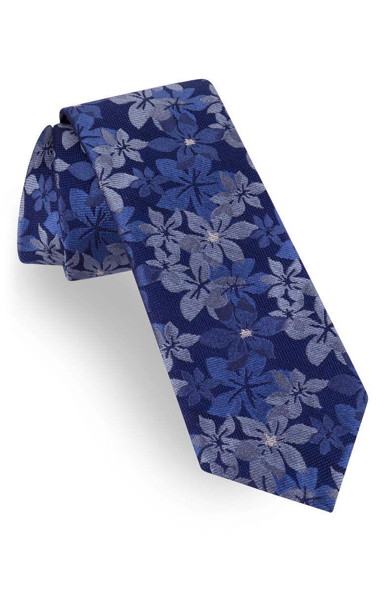TED BAKER LONDON Floral Silk Tie, Main, color, NAVY
