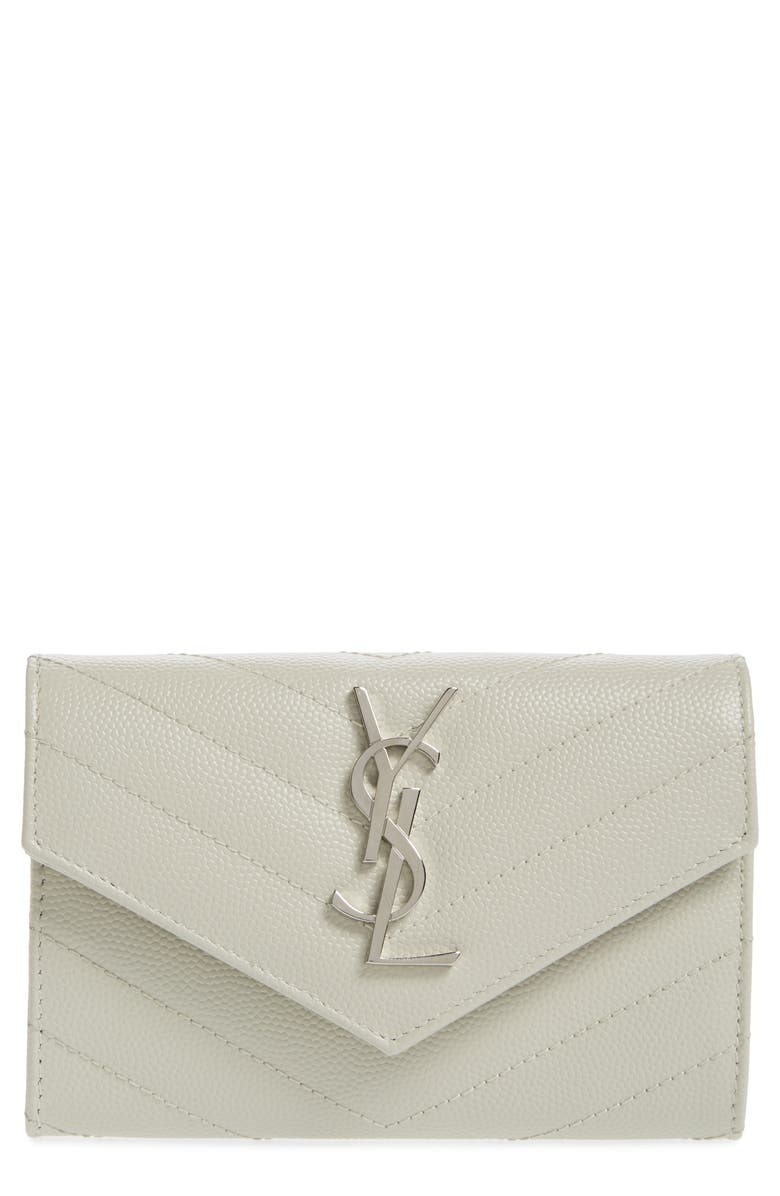 SAINT LAURENT 'Small Monogram' Leather French Wallet, Main, color, BLANC VINTAGE