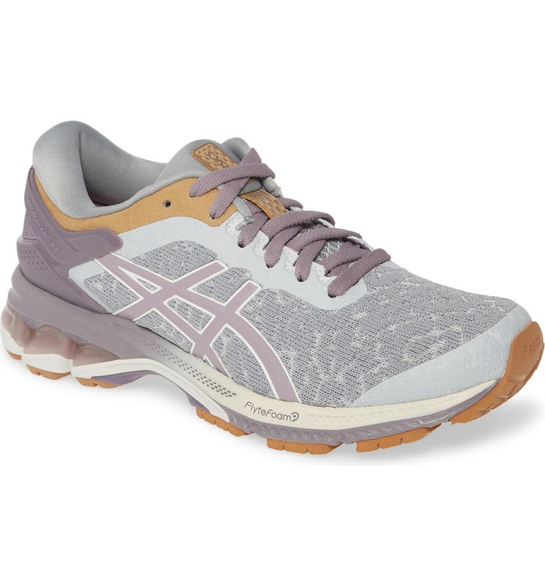 ASICS<SUP>®</SUP> GEL-Kayano<sup>®</sup> 26 Running Shoe, Main, color, GLACIER GREY/ LAVENDER GREY