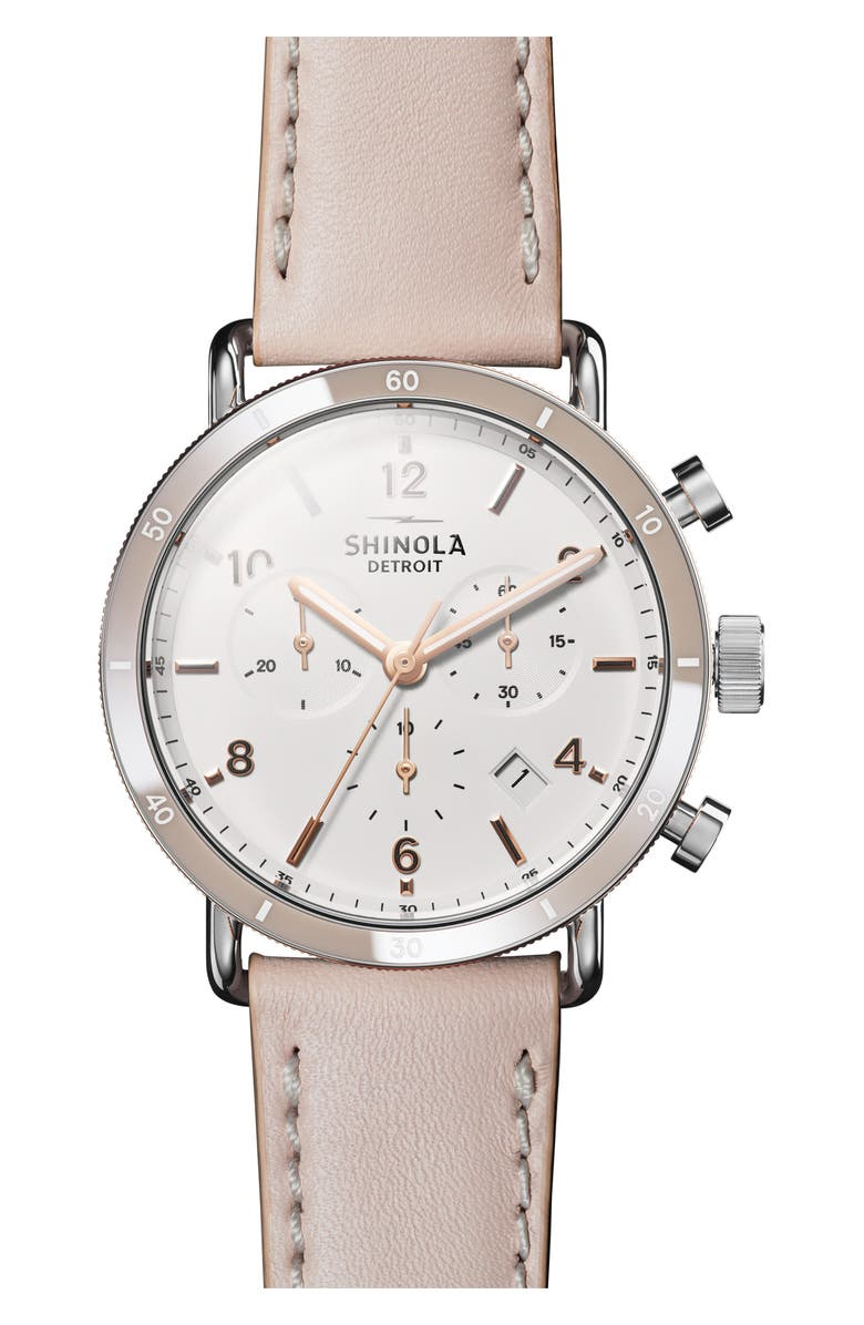 SHINOLA The Canfield Chrono Leather Strap Watch, 40mm, Main, color, BLUSH/ WHITE/ SILVER