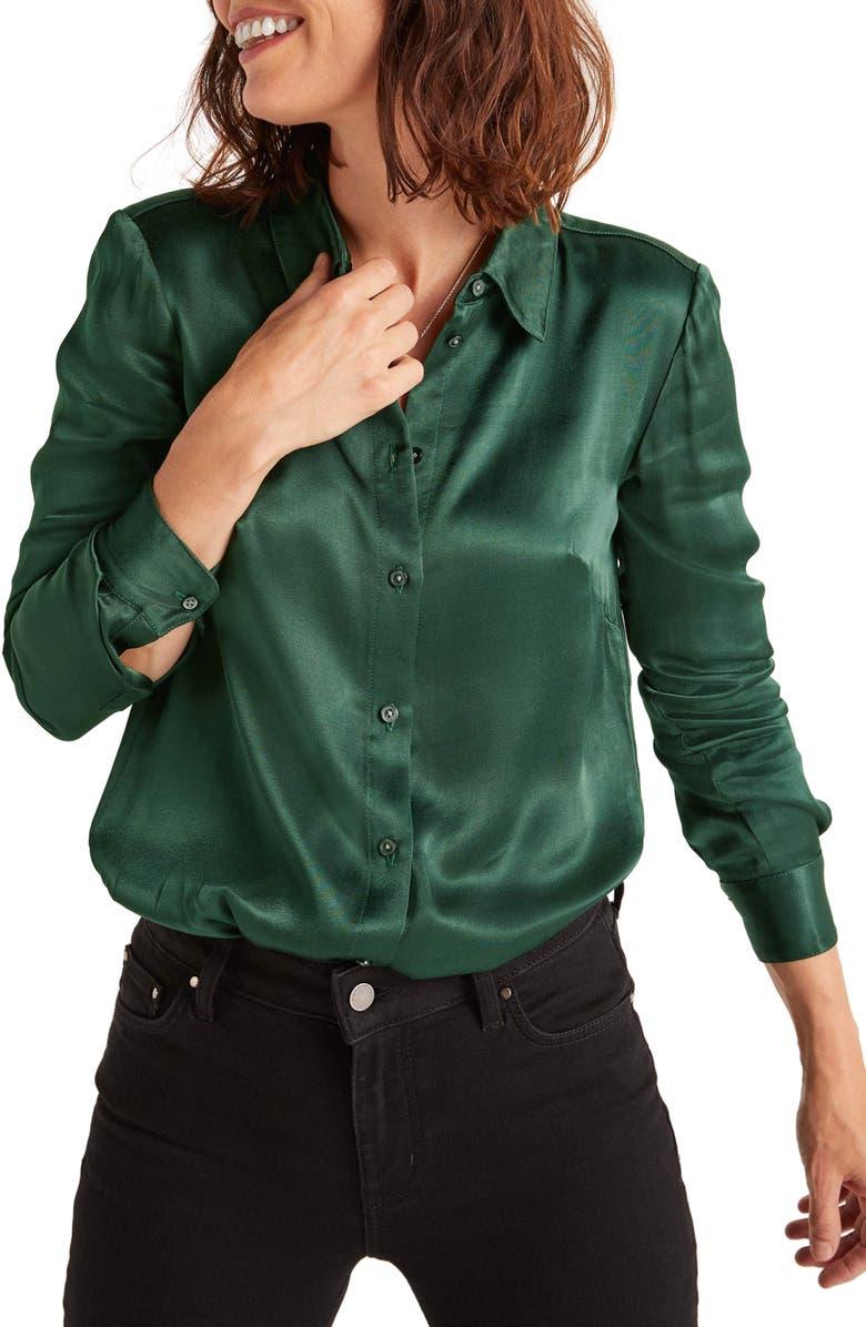 BODEN Anita Satin Button-Up Shirt, Main, color, 304