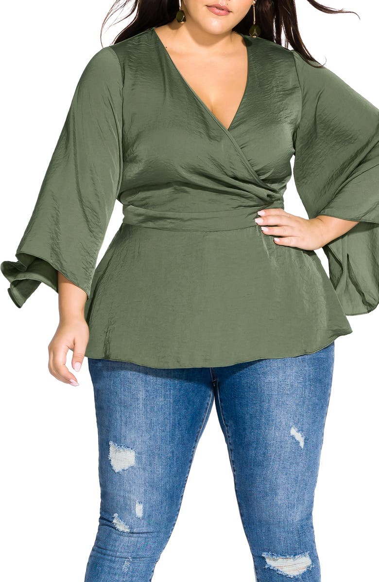 CITY CHIC Bell Sleeve Faux Wrap Top, Main, color, GREEN TEA