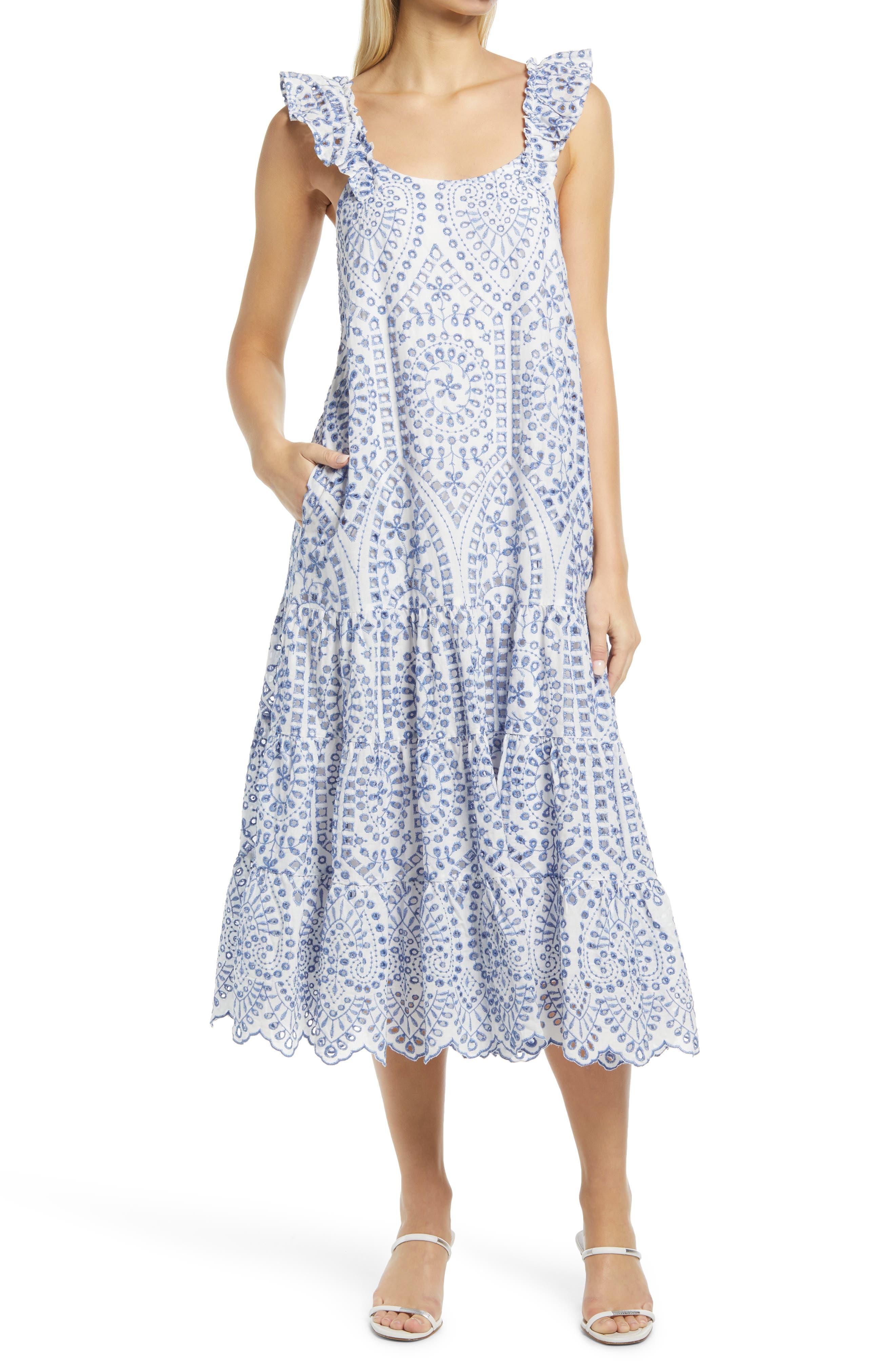 Cotton Eyelet A-Line Dress