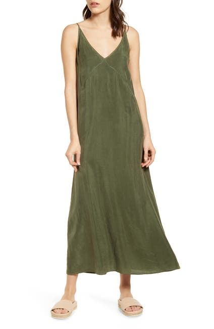 Image of Stateside Cupro V Neck Cami Maxi Dress