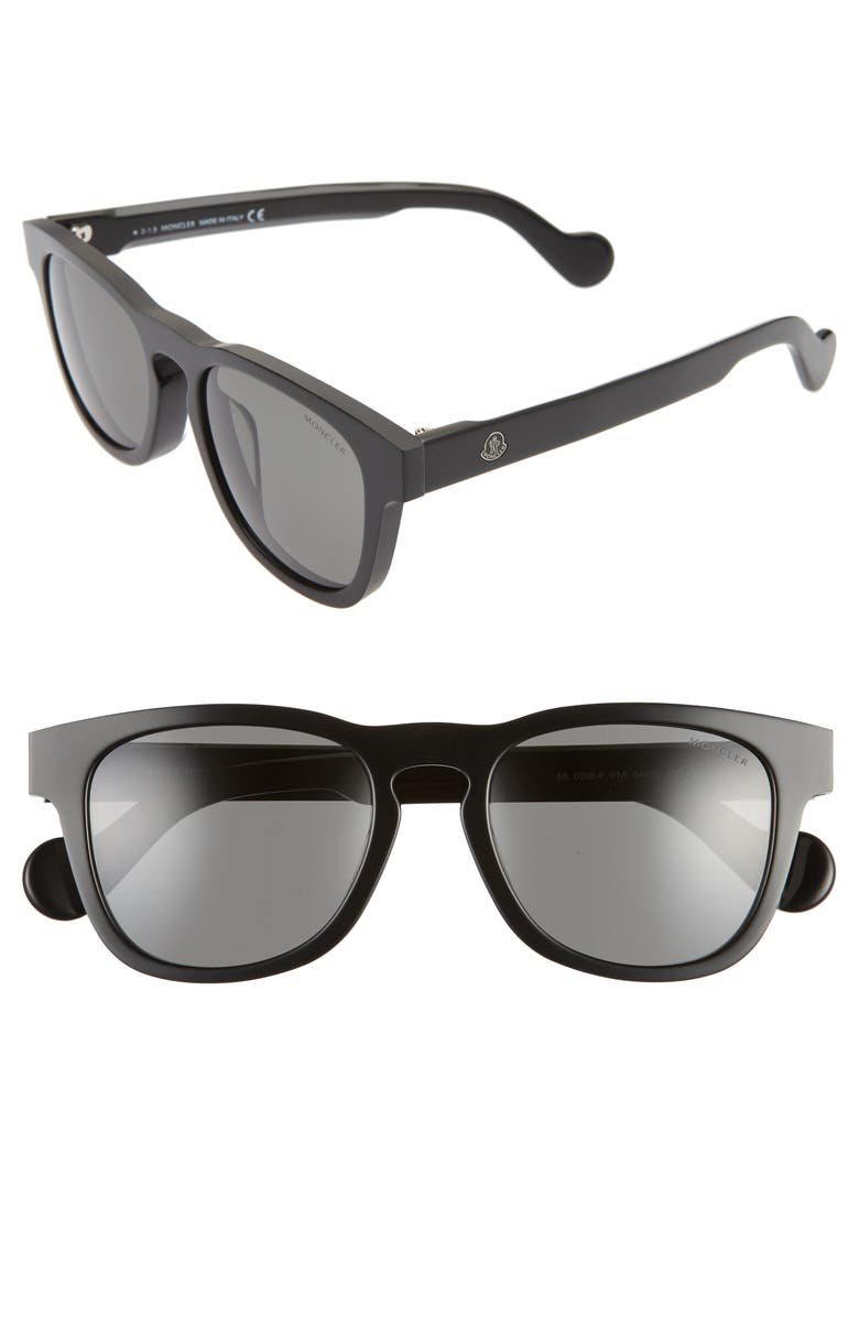 MONCLER 54mm Square Sunglasses, Main, color, SHINY BLACK/ SMOKE