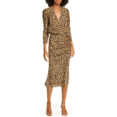 Veronica Beard Arielle Leopard Print Stretch Silk Midi Dress, Brown