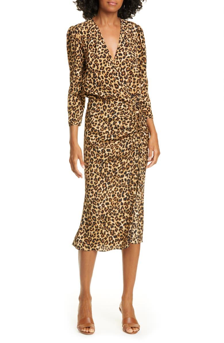 VERONICA BEARD Arielle Leopard Print Stretch Silk Midi Dress, Main, color, 200