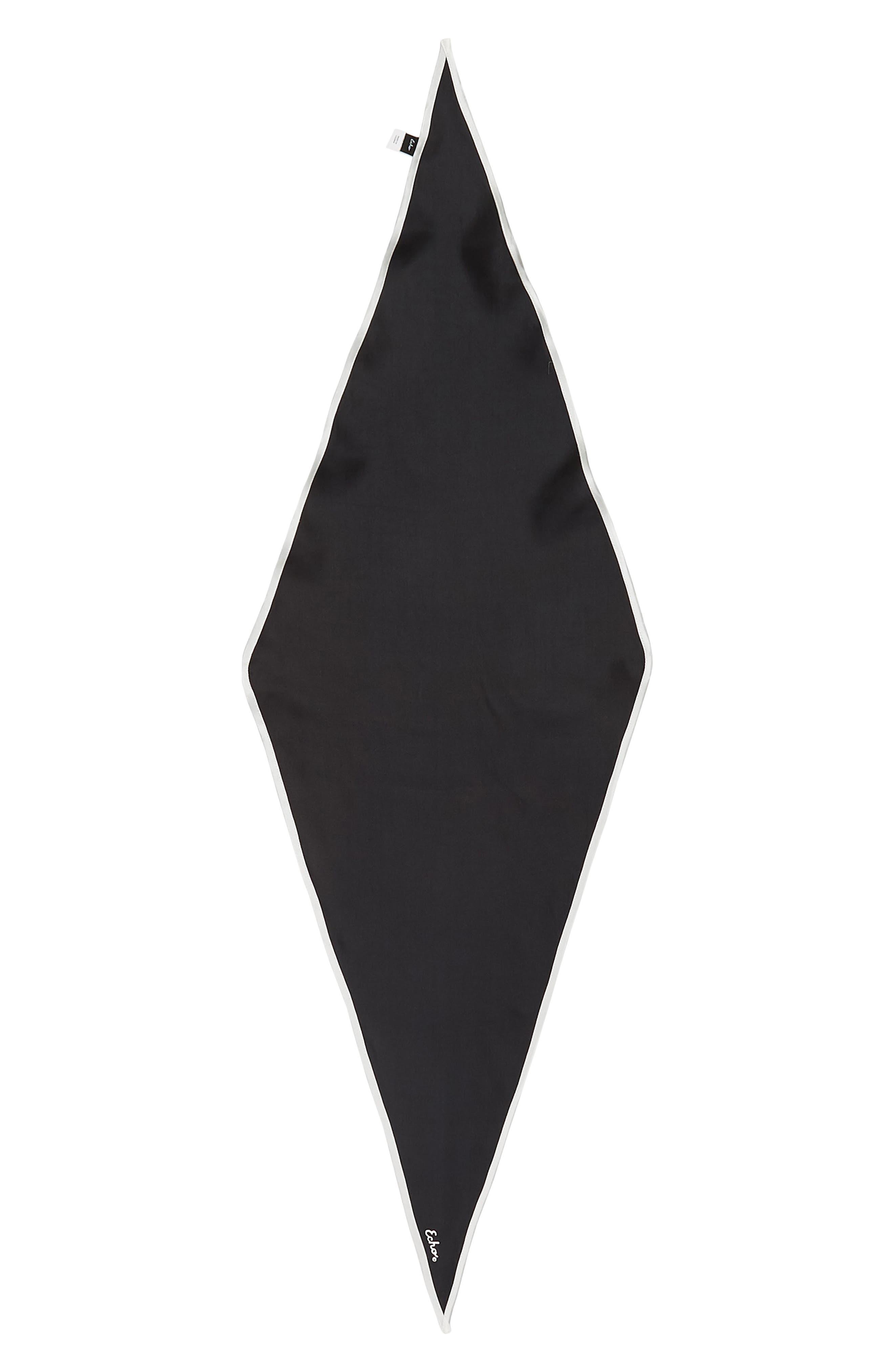 ,                             Contrast Edge Diamond Cut Silk Scarf,                             Alternate thumbnail 3, color,                             BLACK