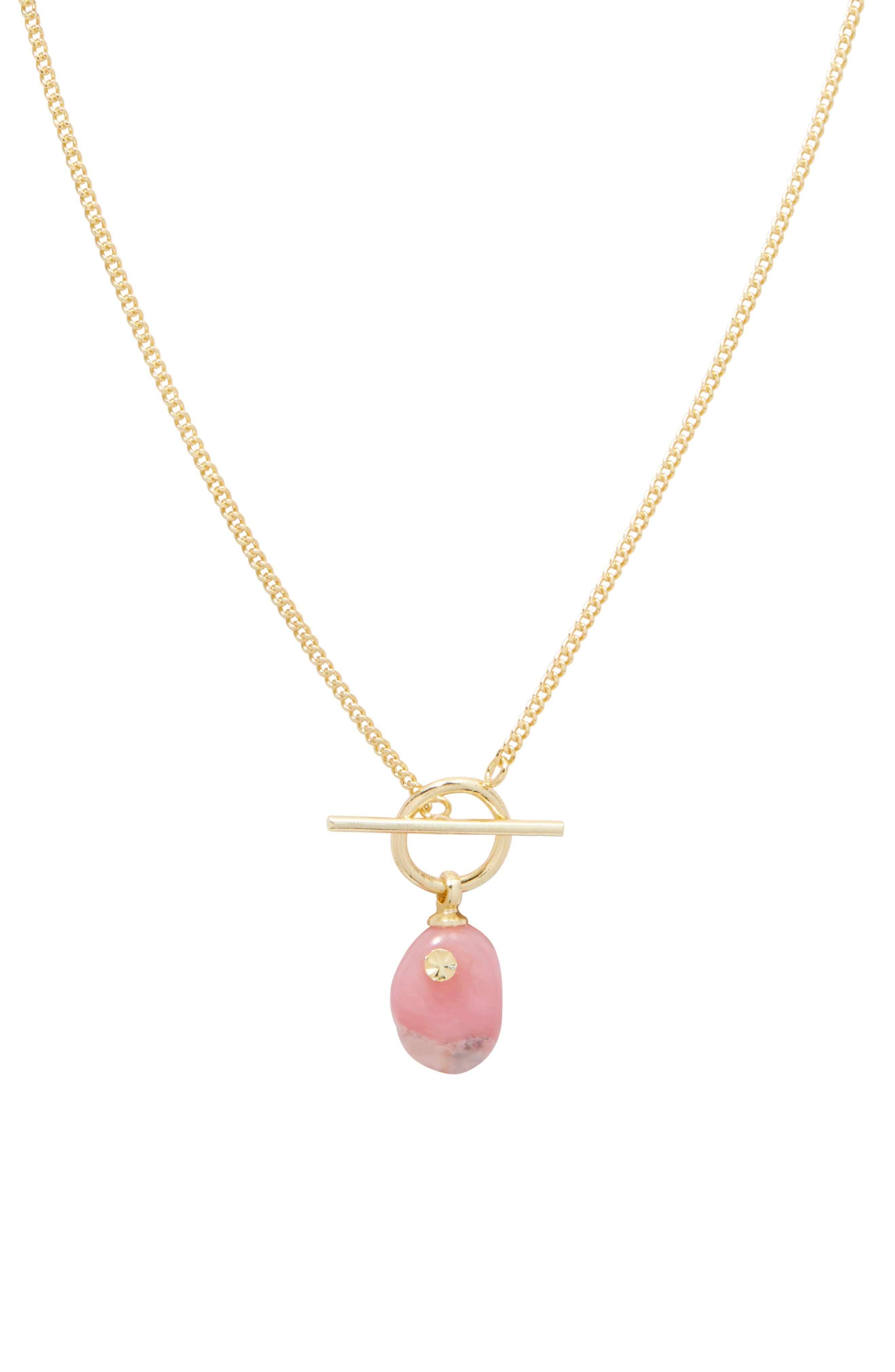 Alice Gem Pink Opal Toggle Necklace