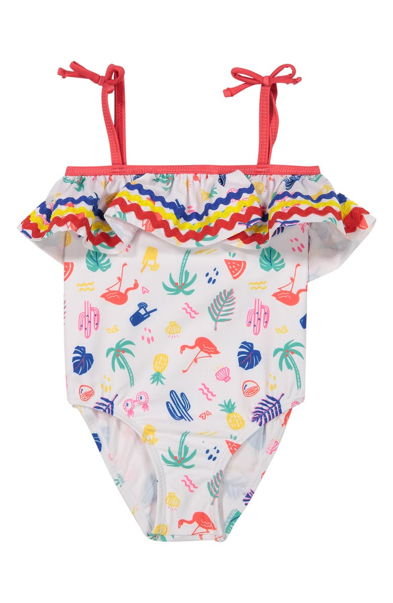 ANDY & EVAN One-Piece Swimsuit, Main, color, WHITE/ MULTI