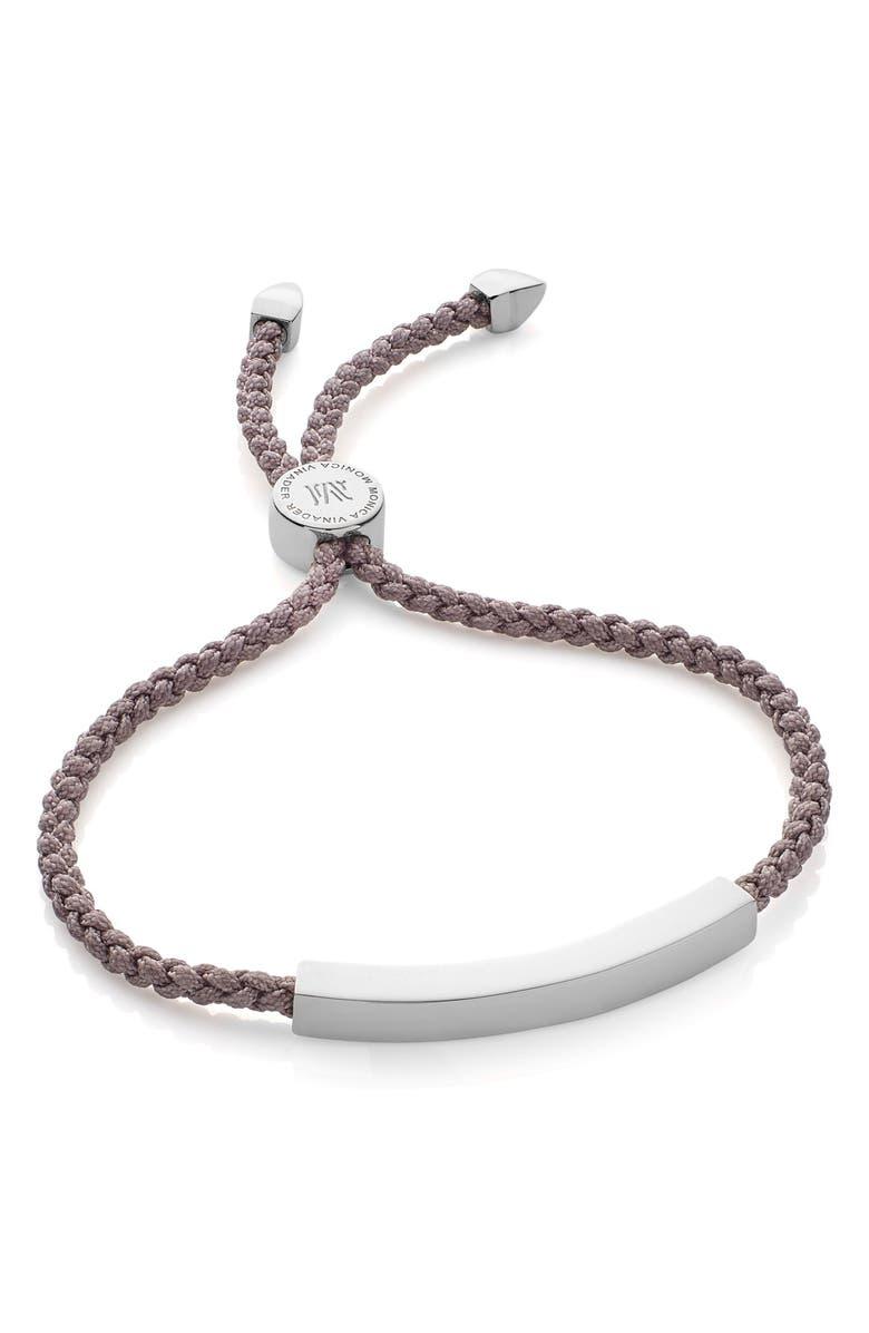 MONICA VINADER Engravable Linear Friendship Bracelet, Main, color, SILVER/ MINK