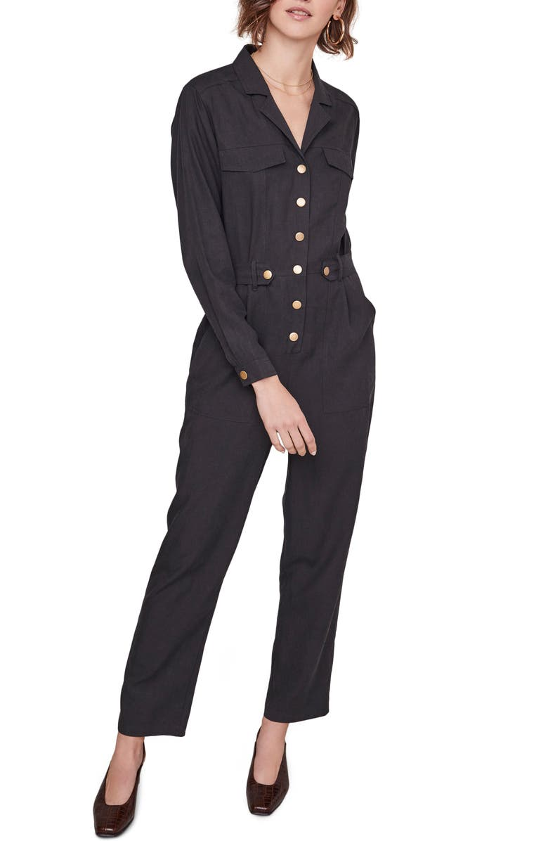 ASTR THE LABEL Siobhan Utility Jumpsuit, Main, color, BLACK