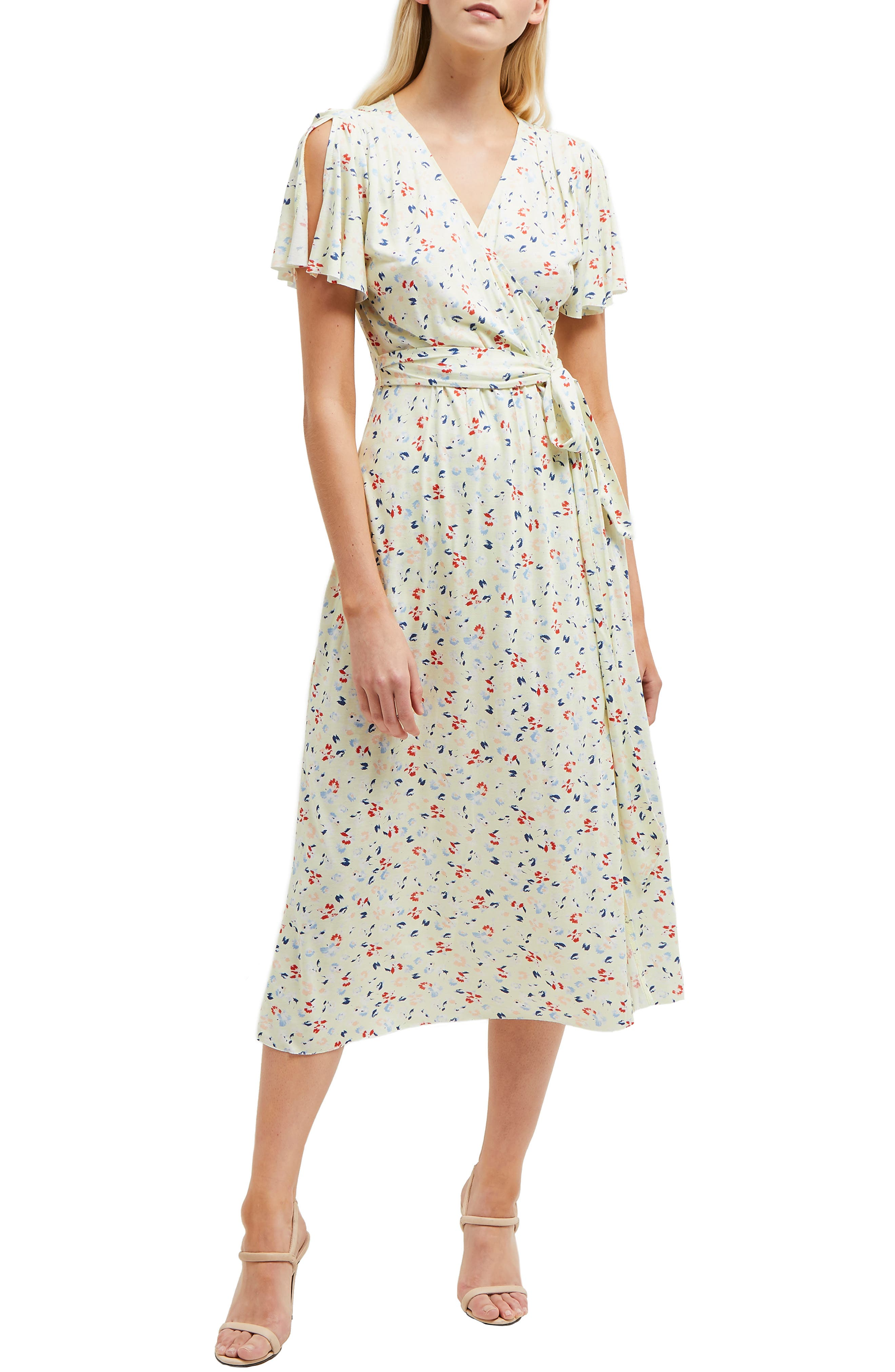 French Connection Roseau Meadow Floral Wrap Front Dress, Yellow