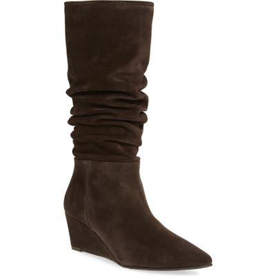 Pedro Garcia Onara Slouchy Pointed Toe Wedge Boot, Brown