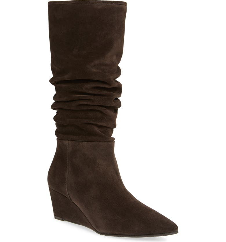 PEDRO GARCIA Onara Slouchy Pointed Toe Wedge Boot, Main, color, PEPPERCORN VELOUR