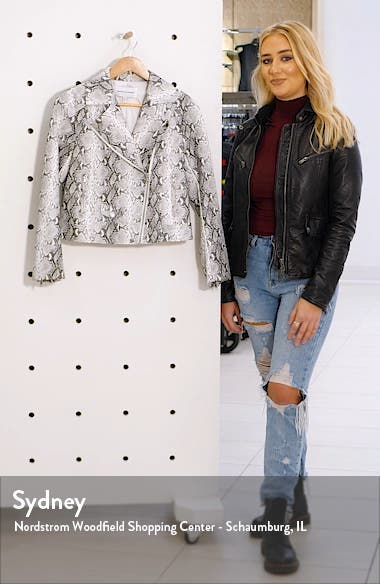 Beatrix Snake Print Faux Leather Moto Jacket, sales video thumbnail
