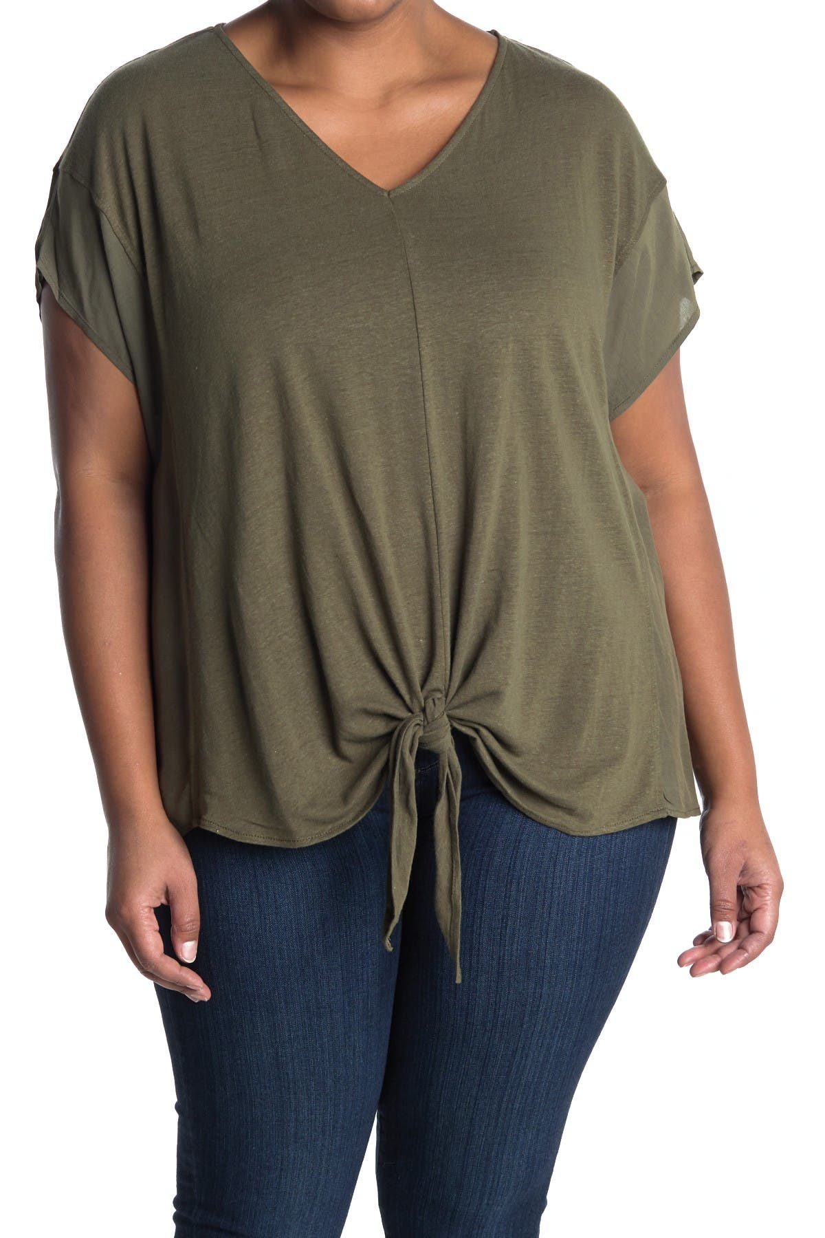 Image of Democracy Extended Short Sleeve V-Neck Tie Front Blouse