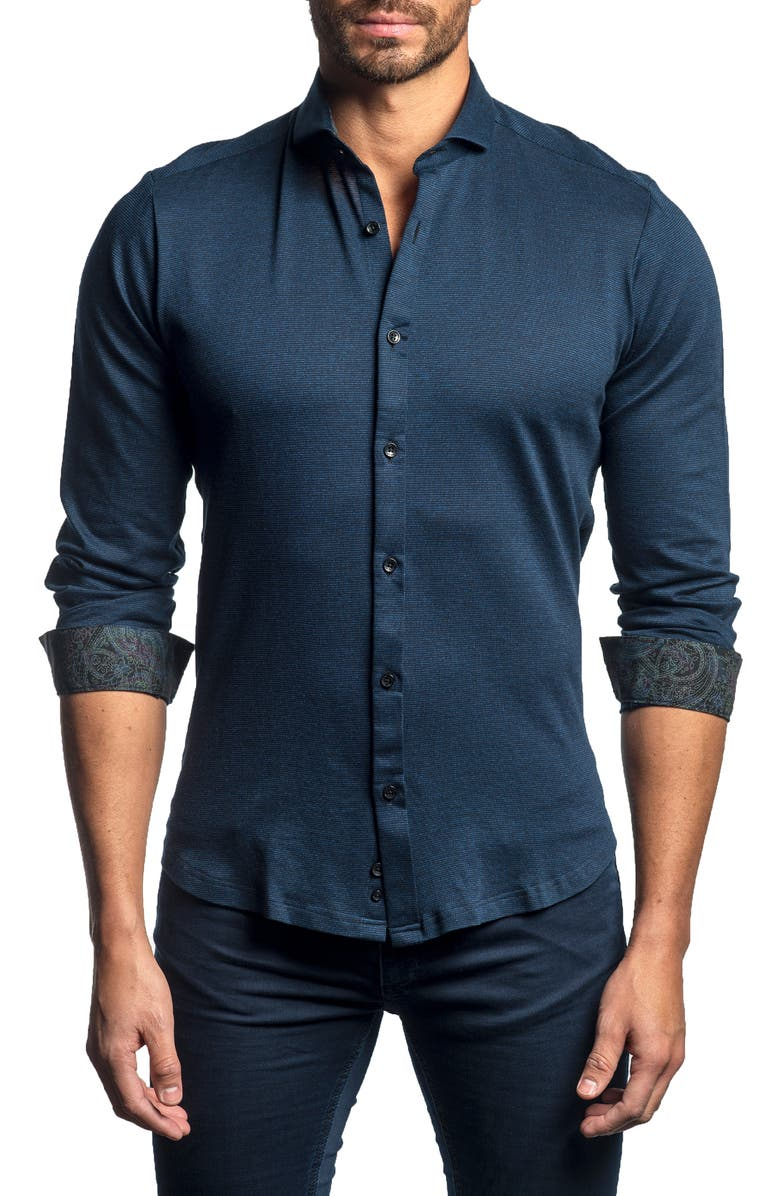 JARED LANG Slim Fit Button-Up Sport Shirt, Main, color, NAVY